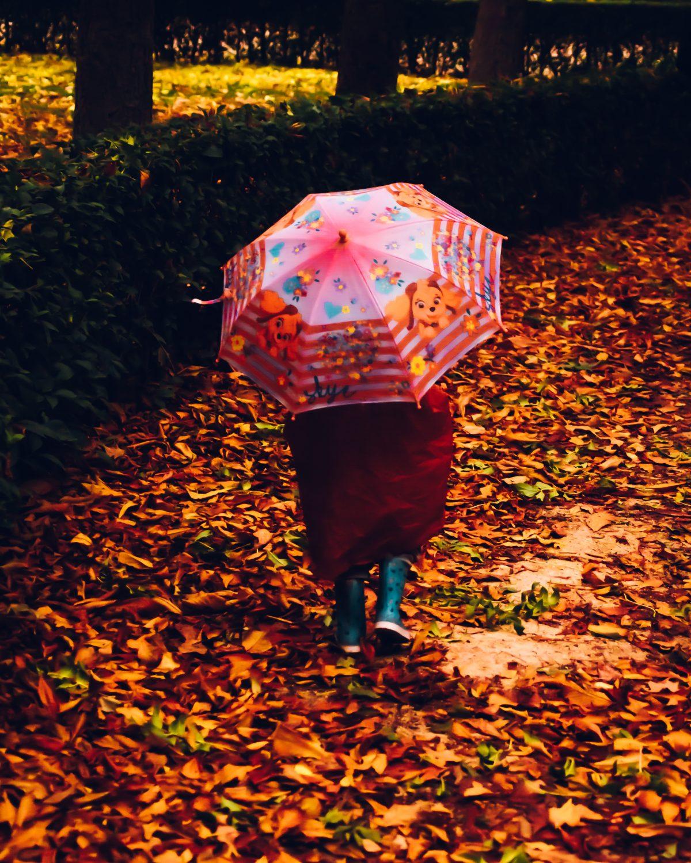 Galería de fotos Niña con paraguas en el retiro de Madrid